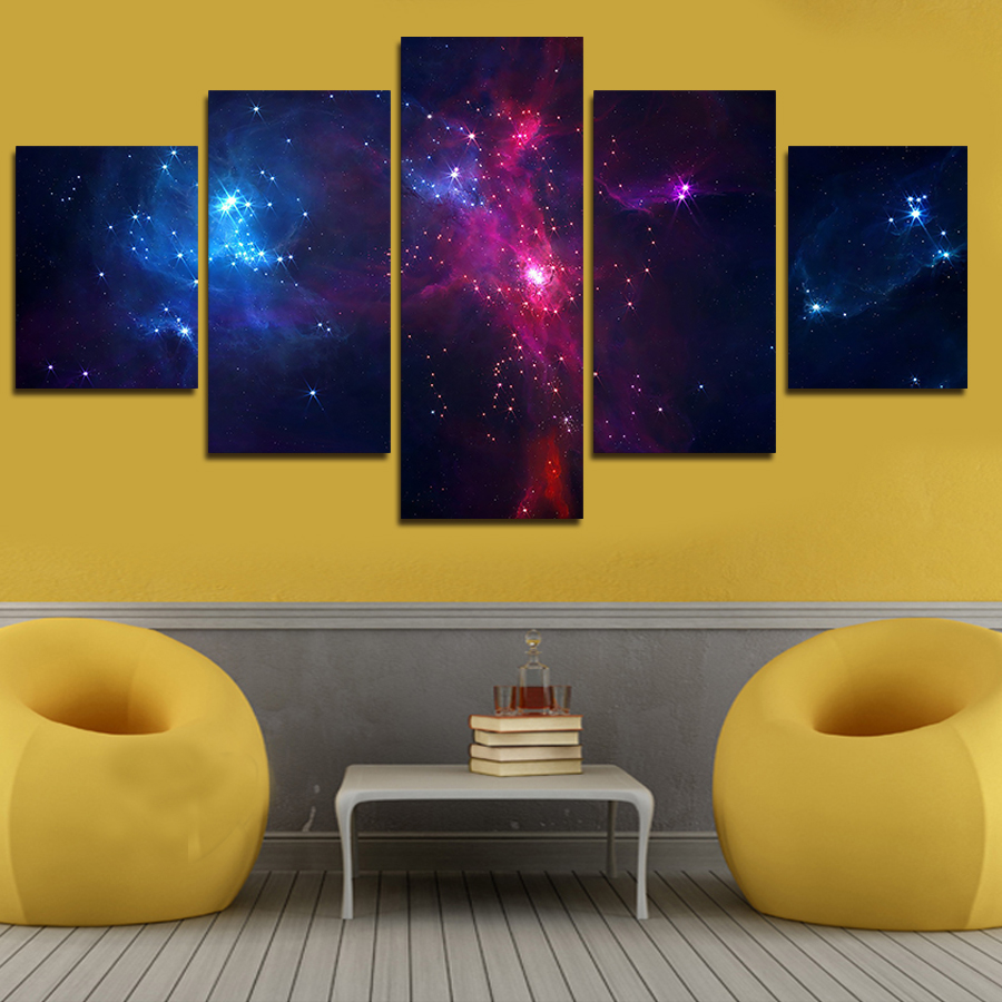 5 set painting galaxy for living room   you can see the