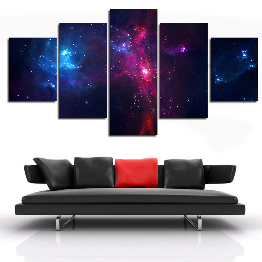 5 set painting galaxy for living room you can see the Wall pictures