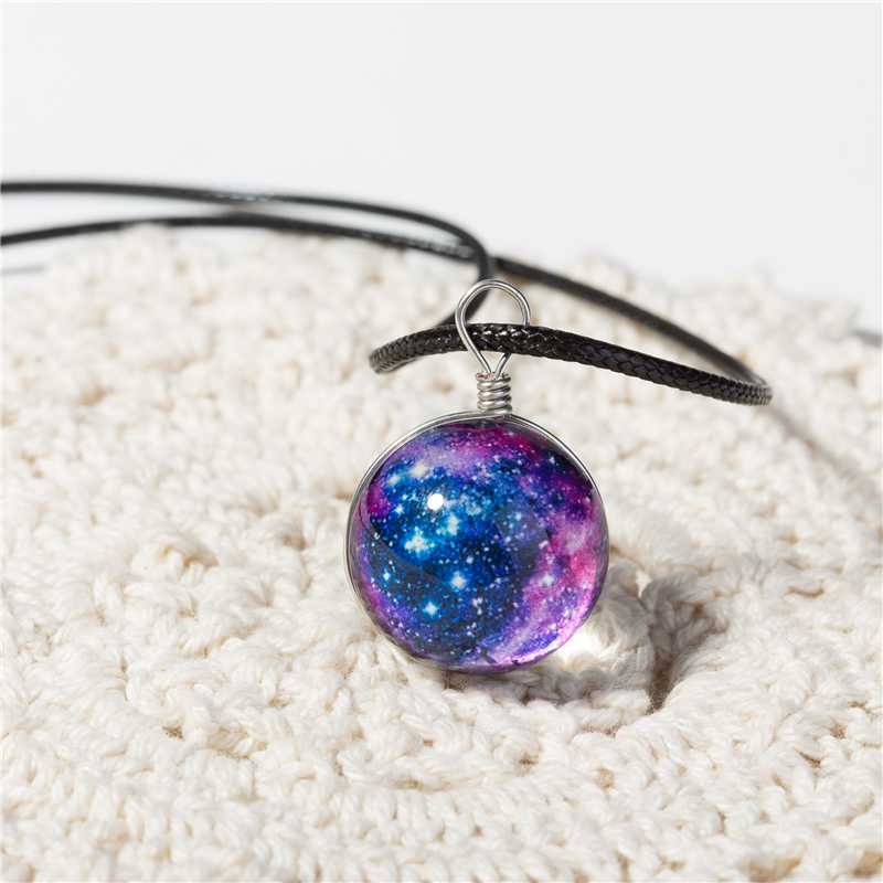 Galaxy Leather Chain Pendant Necklace For Women